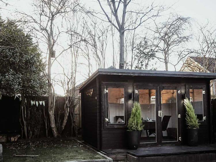 BillyOh Fraya Pent summerhouse exterior with open door painted dark grey