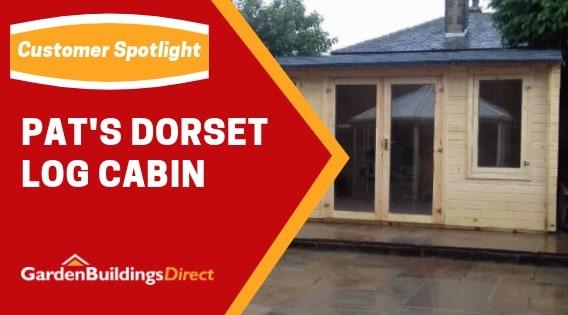"Dorset Log Cabin with text ""Pat's Dorset Log Cabin"""