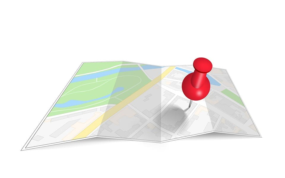 Animated map with a red pin point