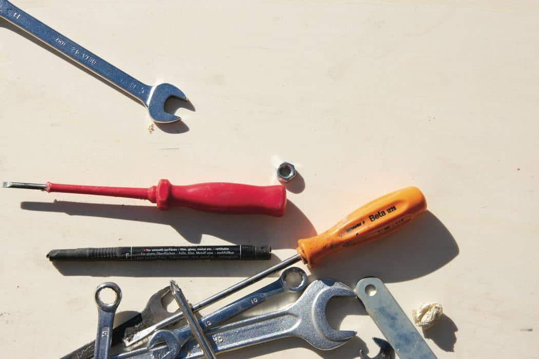 Various tools on a white surface