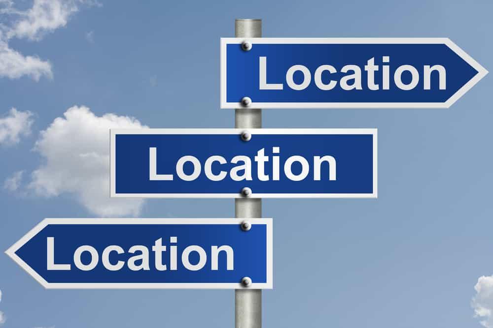 location location location three road signs