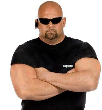 security bouncer with shades and bald head arms crosssed