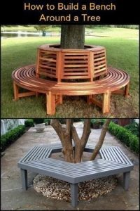 a woven bench made out of different strips of wood in a circular cylinder shape wrapped around the bottom of a thick tree trunk with backs to the continuous seat