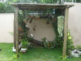 plants inside a small wooden canopy next to a wall in a back garden
