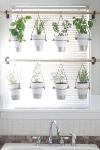 planters and plant pots hung with rope from a curtain pole above a sink in a kitchen