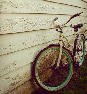 Bike leaned against shed