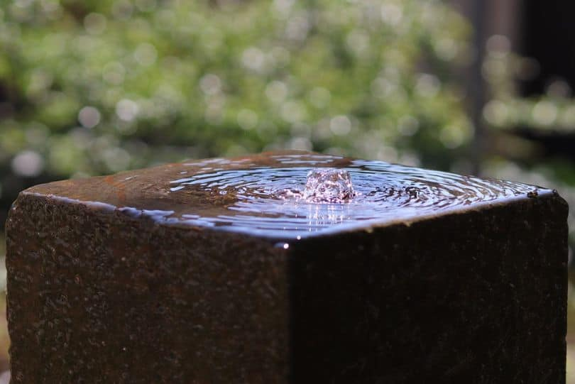 square water fountain with rippled water