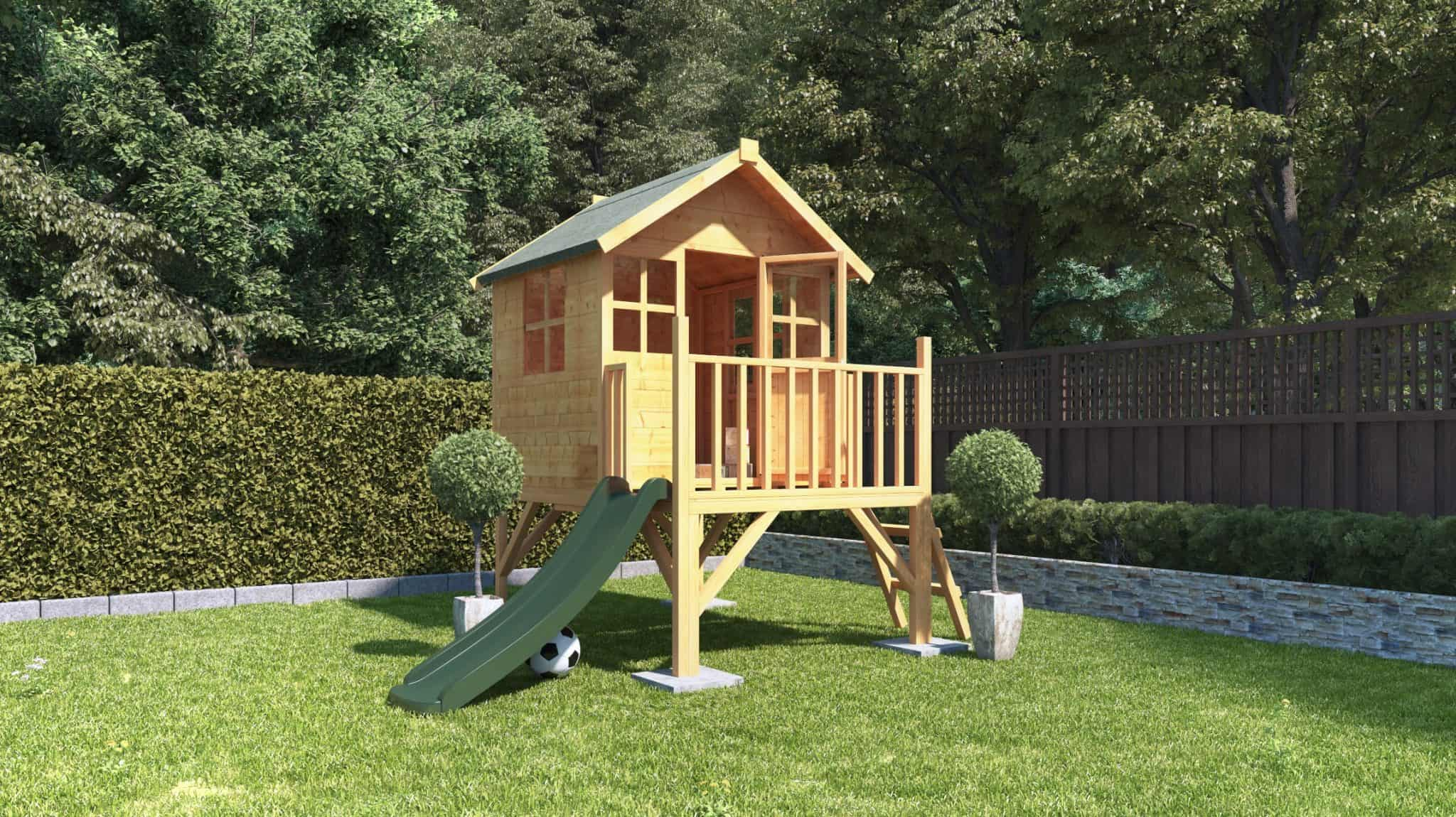 BillyOh Bunny Max Tower timber tongue and groove playhouse with slide on grass