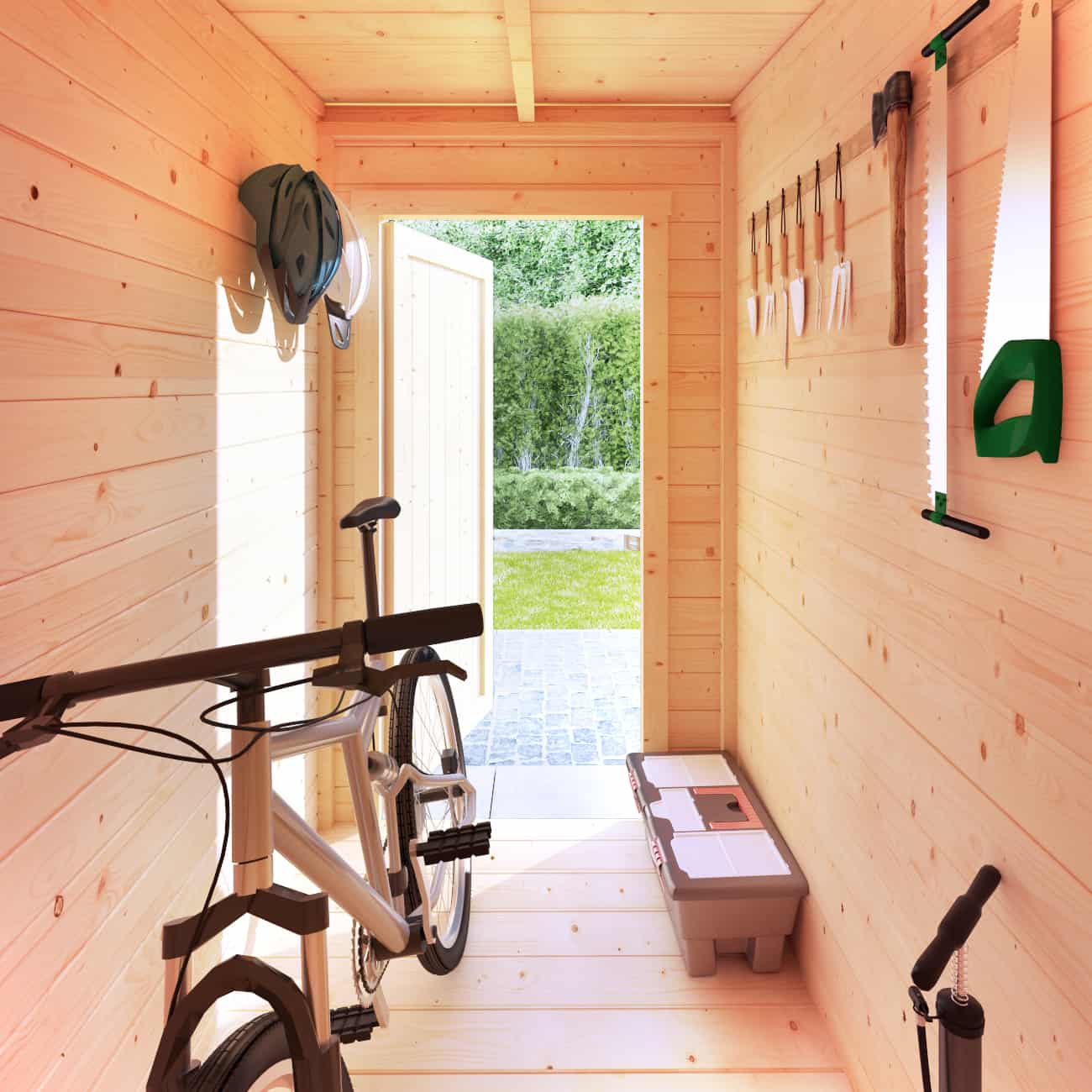 BillyOh Tianna Pent roof wooden summerhouse interior side store with bikes
