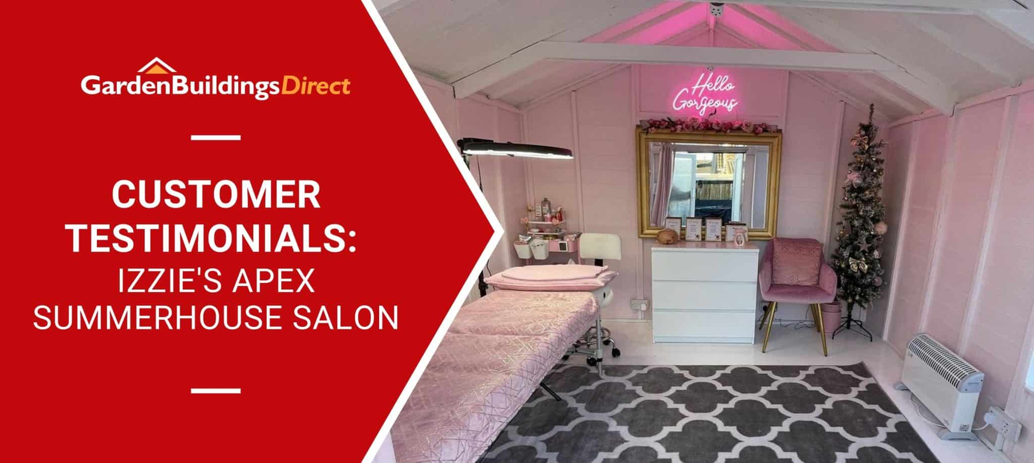 BillyOh Apex Summerhouse interior designed as a nail salon with pink neon and a masseurs bed
