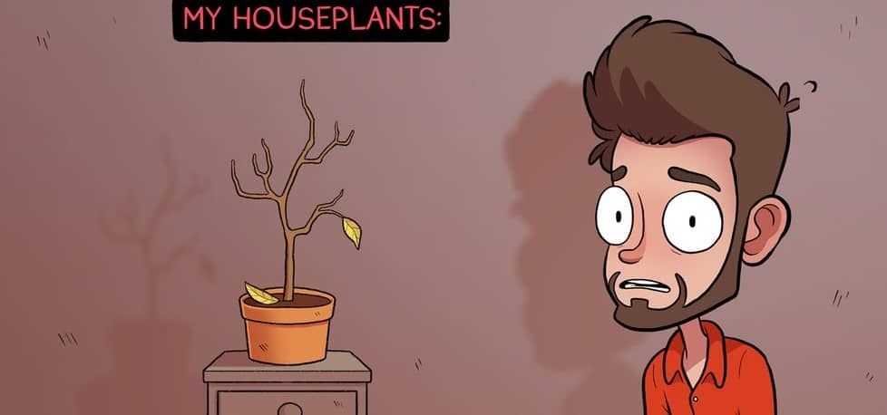 Dejected man with houseplants cartoon2