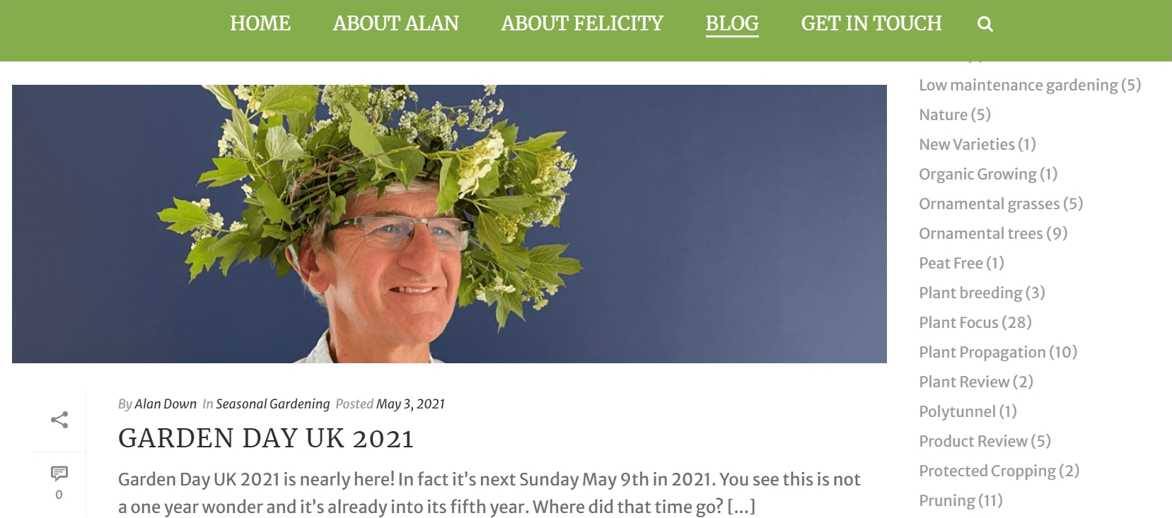 Down To Earth Blog banner with Alan Down wearing a wreath as a hat