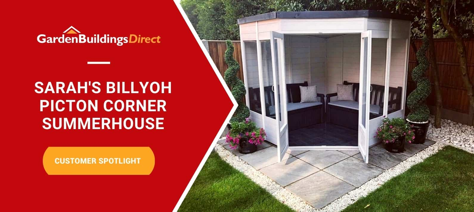 BillyOh Picton corner Summerhouse on patio with Garden Buildings Direct logo and red arrow banner