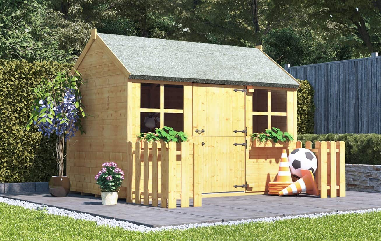 BillyOh Gingerbread Max Tongue and Groove Wooden Playhouse with picket fence