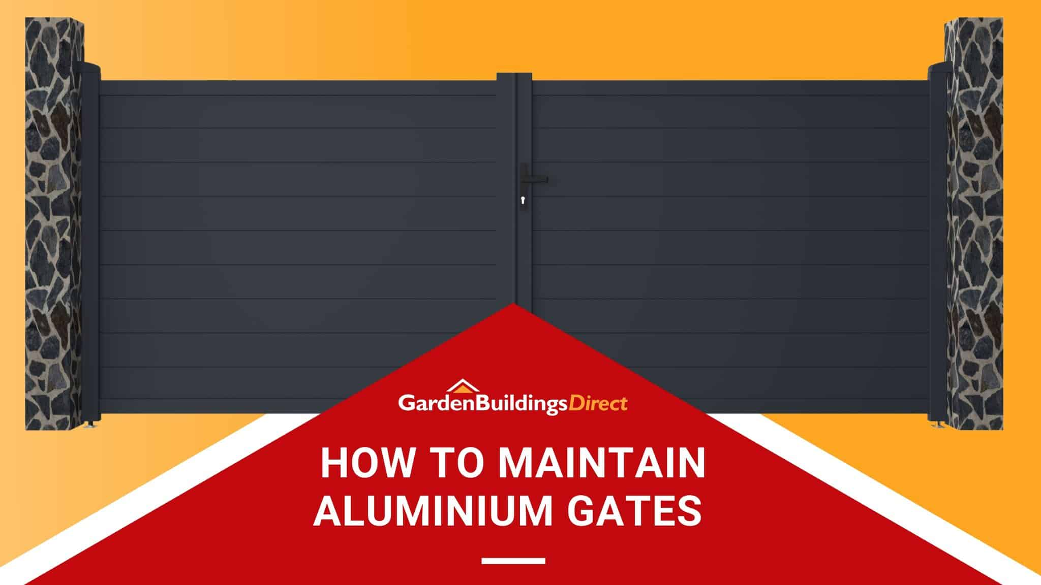 How to Maintain Aluminium Gates Garden Buildings Direct Featured Image with double-swing black powder-coated aluminium driveway gate on yellow background with red arrow at the bottom with title and GBD logo