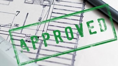 planning permission approved drawing with a green approved stamp
