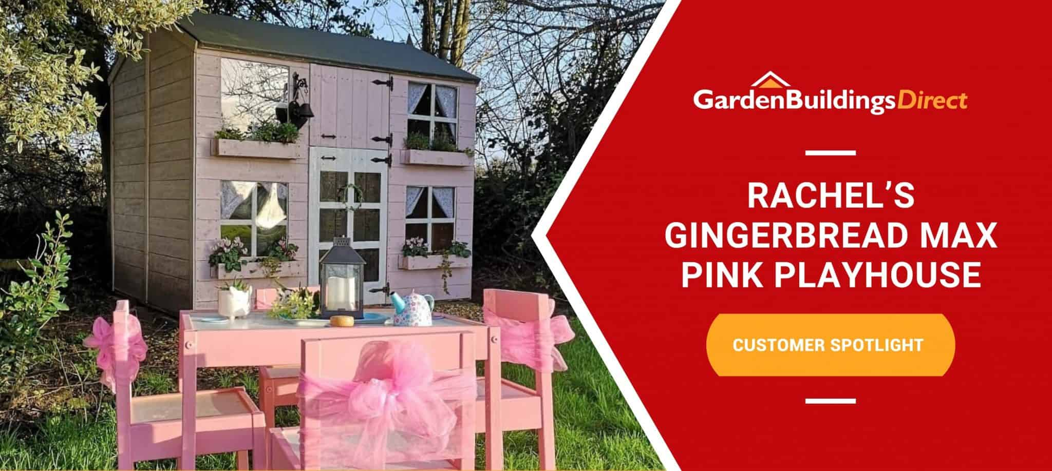 BillyOh Gingerbread Max two-storey playhouse painted pink behind pink children's chairs and table