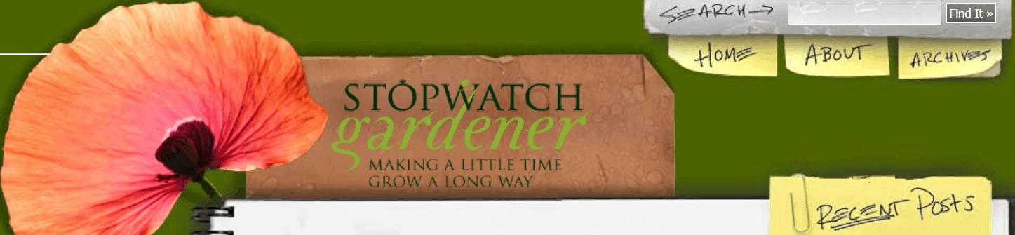The Stopwatch Gardener blog banner