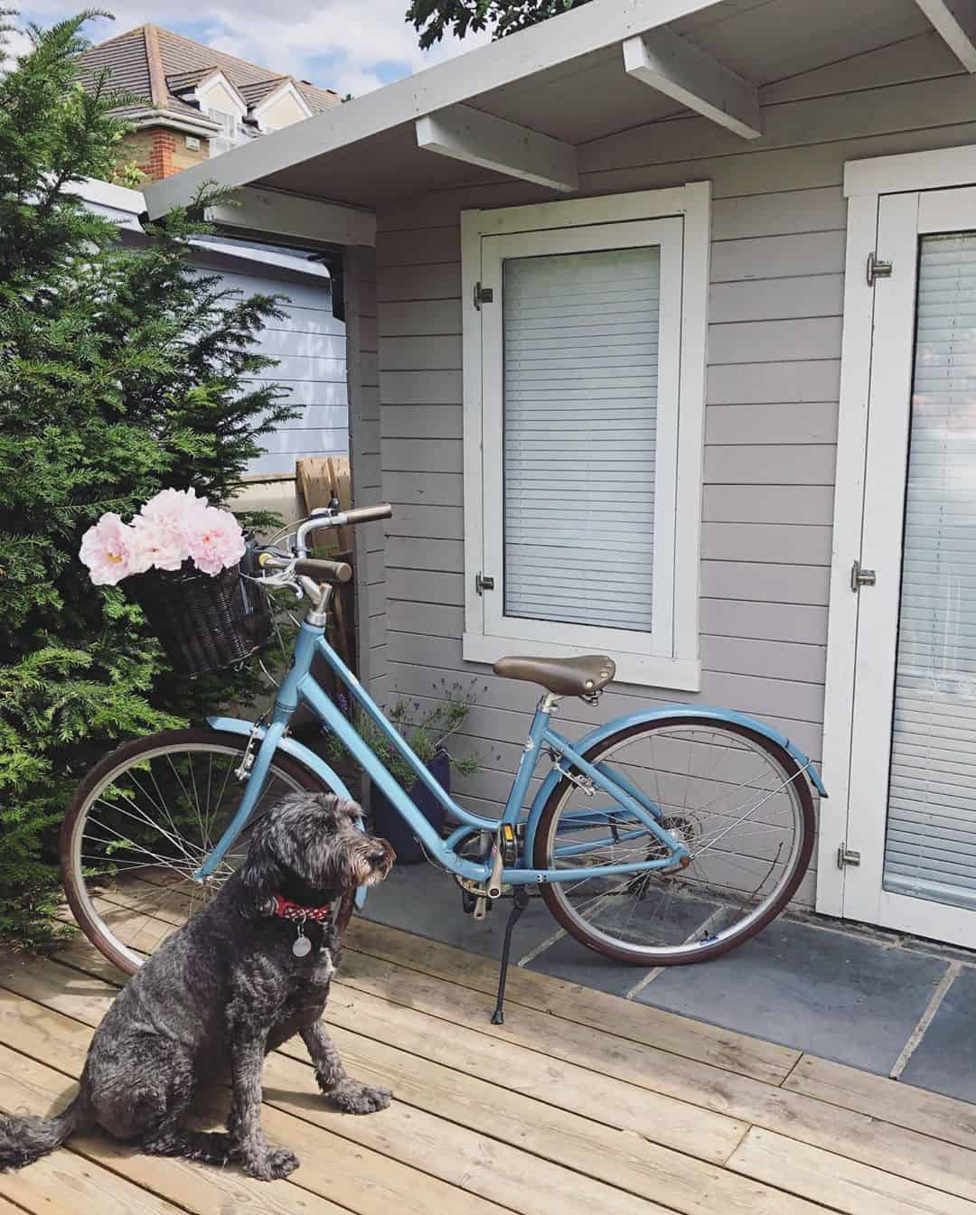 @athomewithjen__ BillyOh Winchester Log Cabin exterior with bike and dog