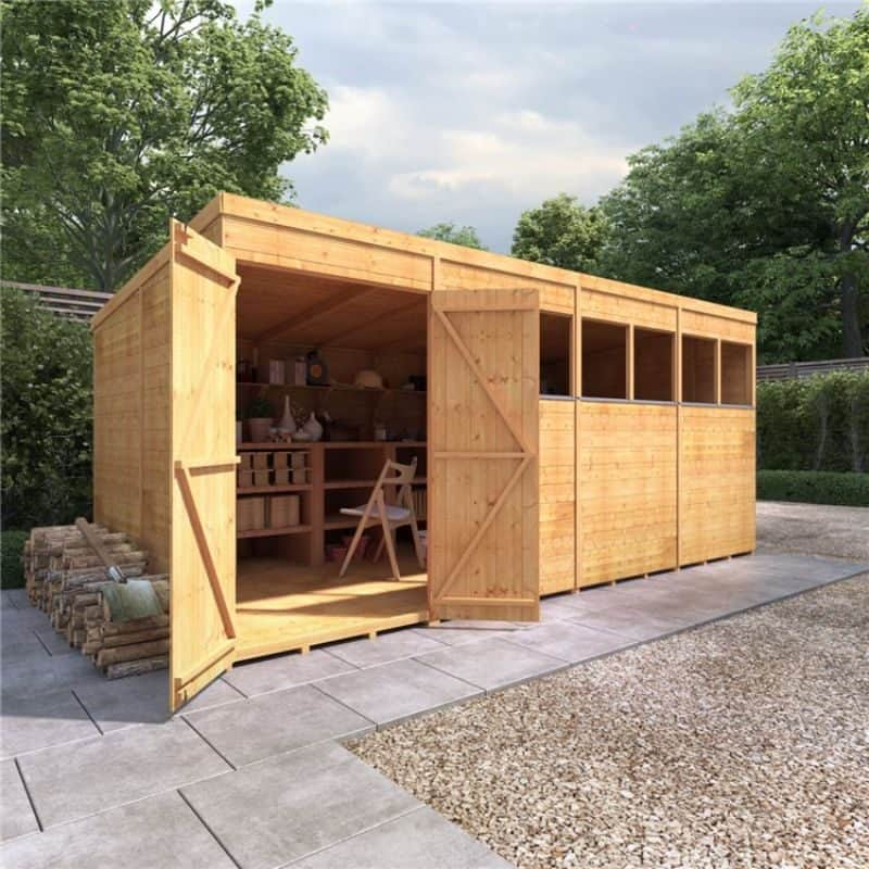 BillyOh Expert Tongue and Groove Pent Workshop on patio