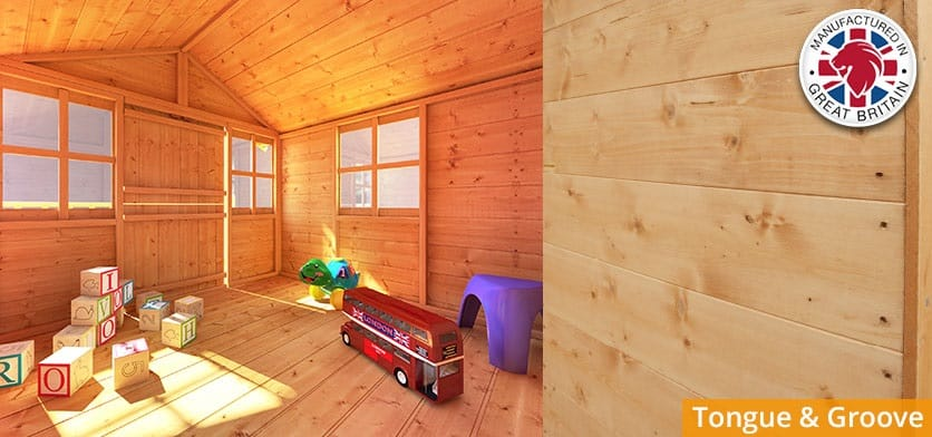 BillyOh tongue and groove playhouse interior with toys