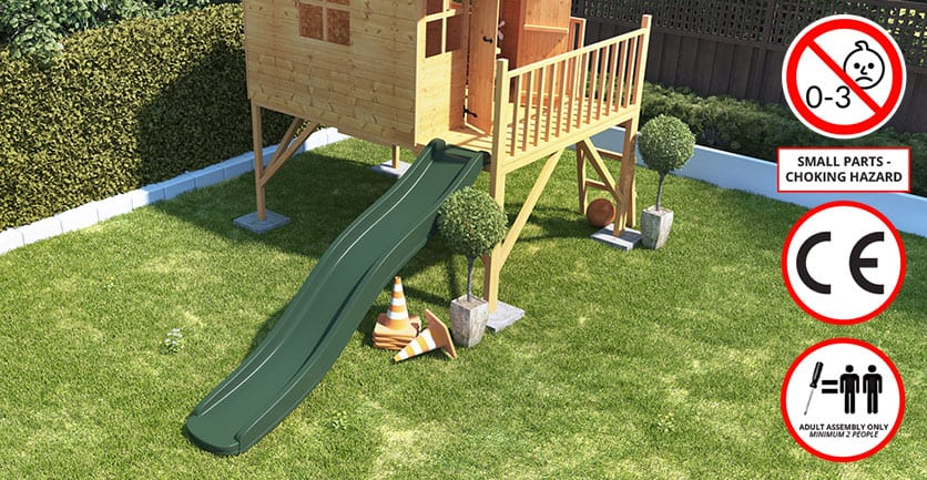 BillyOh playhouse with slide and safety information signs