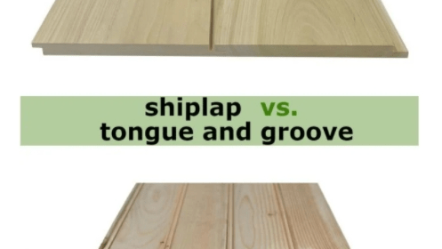 shiplap vs. tongue and groove two boards or each type of timber on white background highlighting different joins