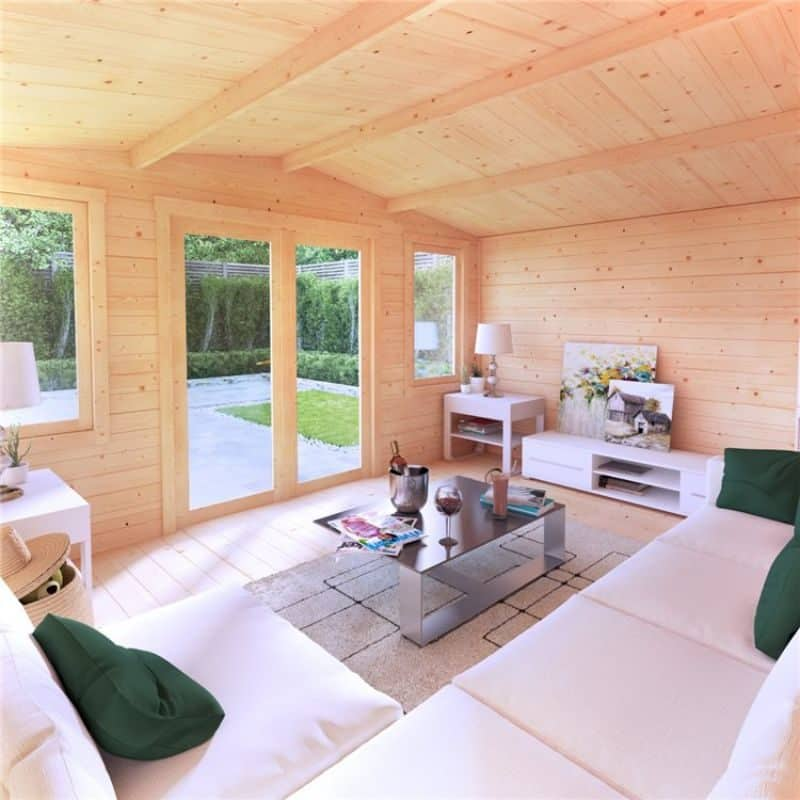 apex roof log cabin interior with glass double doors