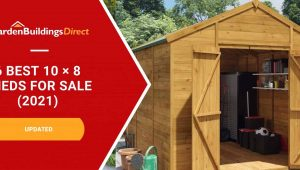 6 best 20 x 8 sheds with a wooden apex roof shed and garden buildings direct logo on a red arrow banner