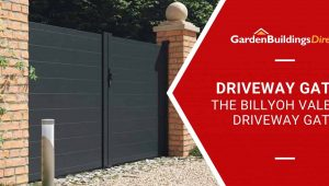 BillyOh Valencia Double swing driveway gate with Garden Buildings Direct banner and logo