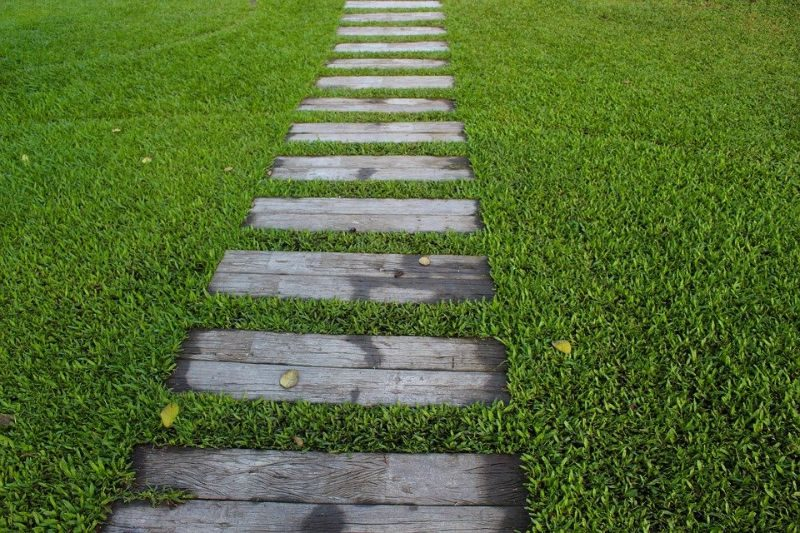 garden path with wooden steps sunk into green lawn